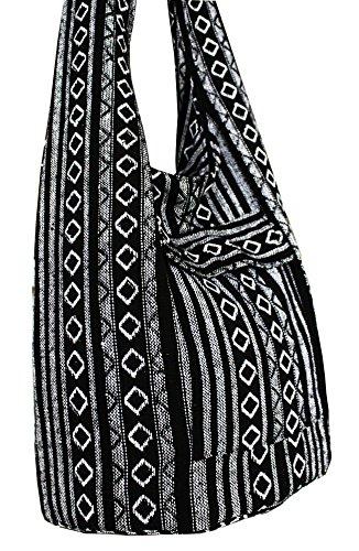 2c27f29026bf Thai Tribal Hmong Boho Striped Ethnic Cotton Boho Sling Crossbody Bag  Shoulder Bag Thai Pattern Bag Thai Top Zip Handmade Asia Bag (Stripe Black)
