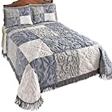 #10: Collections Etc Grey Patch Chenille Bedspread with Fringe Trim