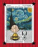 Snoopy Charlie Brown Poster Van Gogh's Starry Night