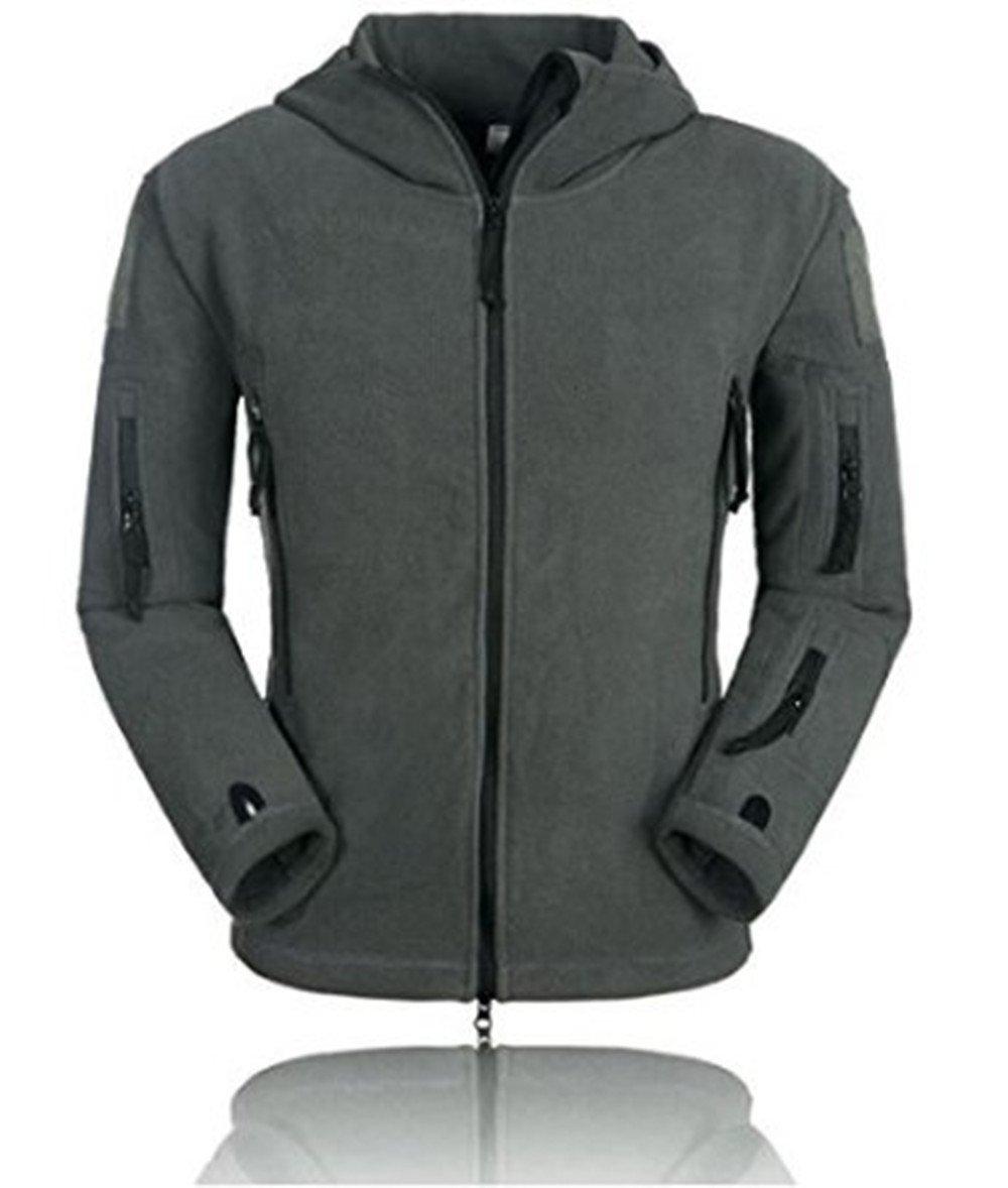BIYLACLESEN Mens Outdoor Tactical Softshell Fleece Hoodie Full Zip up Jackets Coats