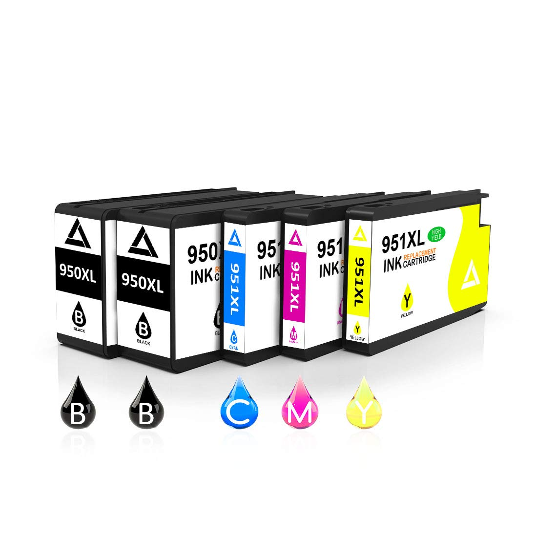 Compatible 950XL 951XL Ink Cartridge Replacement for HP 950 951 950XL 951XL Works with OfficeJet Pro 8600 8610 8620 8100 8615 8625 8630 251DW (2 Black/1 Cyan /1 Magenta/1 Yellow) by Toner Kingdom