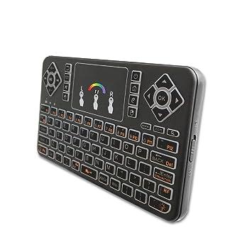 SZHENRY 2.4GHz Mini Teclado inalámbrico con Touchpad y RGB Backlight, Control Remoto de Mano