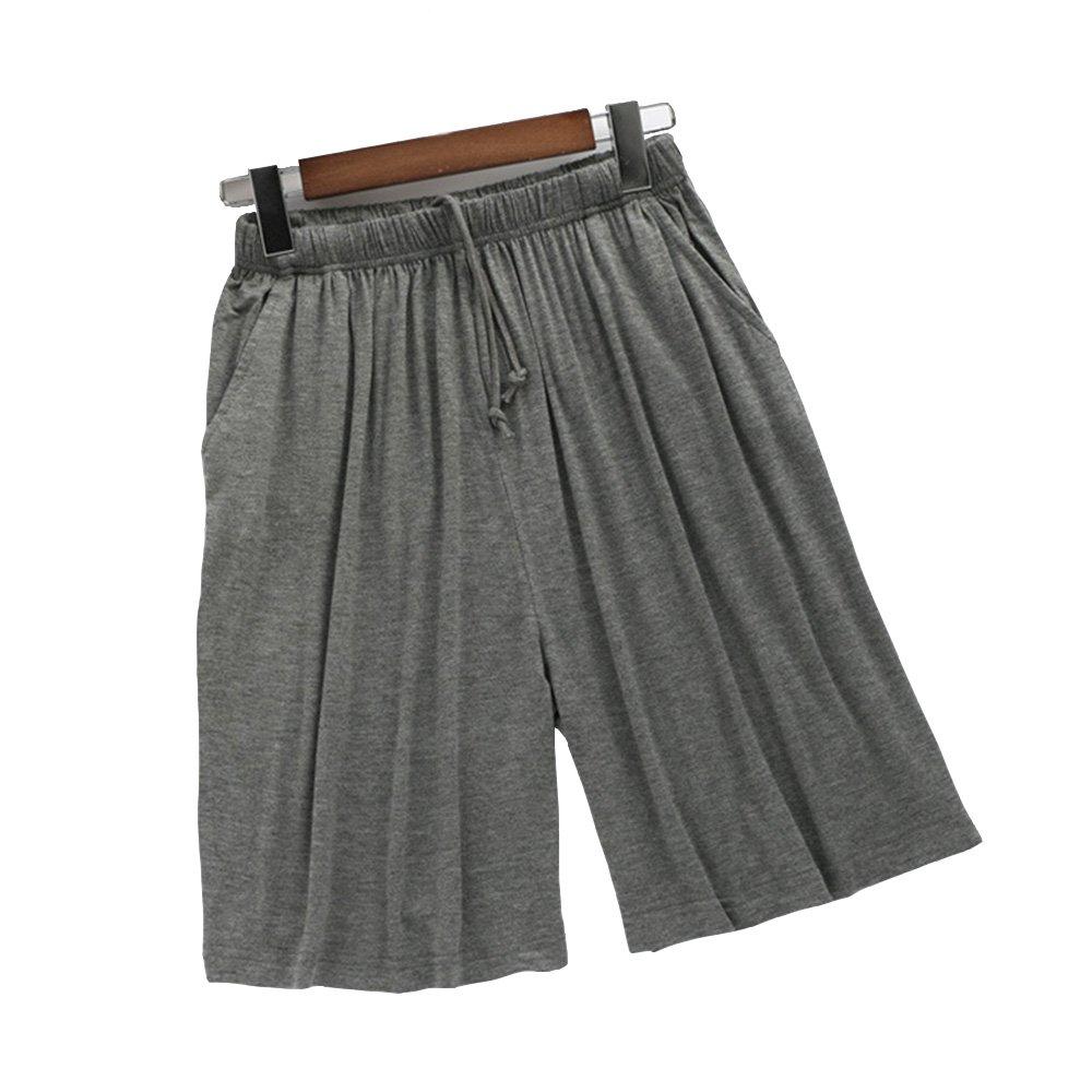 ASSR Men Pajama Short Pants, Summer Thin Modal Beach Pants Comfortable Loose Large Size Sports Pants Home Sleepwear (Dark Grey)