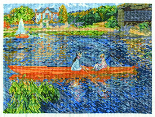- DMC BL1068/71 16 Count Renoir The Skiff Counted Cross Stitch Kit, 12