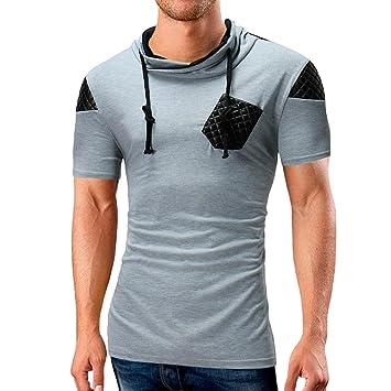 LuckyGirls Camisetas Hombre Originales Manga Corta Verano Bolsillo Patchwork Moda Polos Personalidad Músculo Remera Camisas (