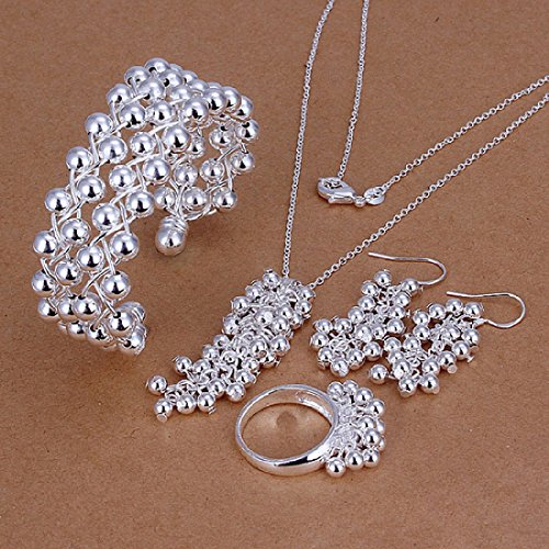 Hot Sale Wedding Fashion 925 Silver Plated Jewelry Set Hand Chain Bracelet Necklace Hook Earings Eardrop Ring Beads Grapes