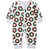 0126601ffd82 Infant Baby Kids Boys Girls Christmas Pajamas Cute Long Sleeve Stripe  Romper Jumpsuit Tops Outfits Clothes