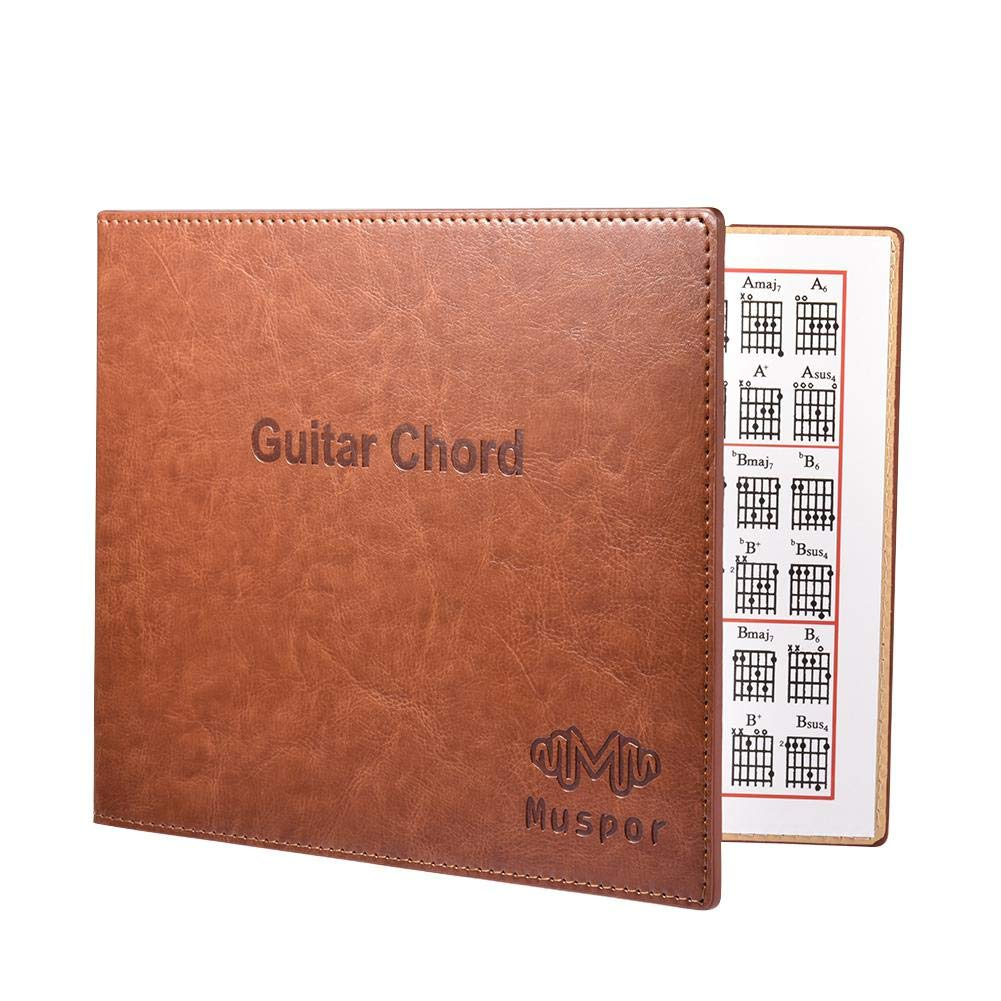 Guitarra Chord Book Chart, piel sintética, 6 cuerdas de papel ...
