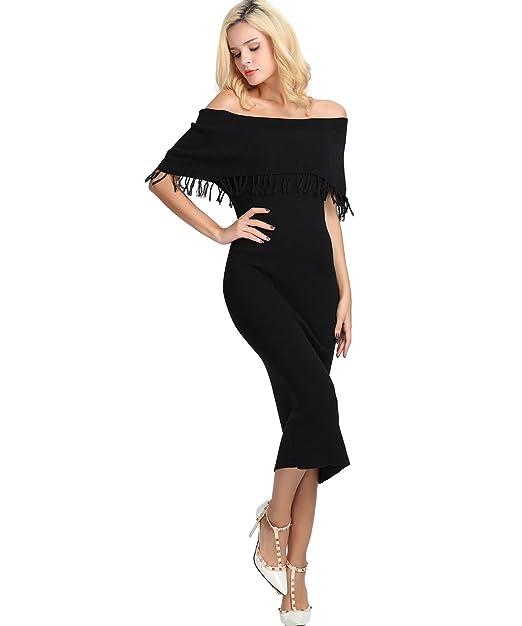 Amazon.com: Mujeres Tassel Suéter Vestido apagado hombro ...