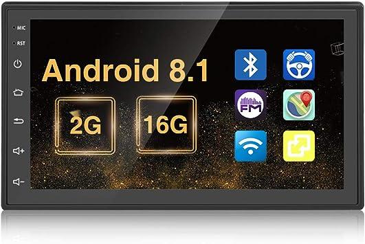 Android 2G+16G Coche Radio, Podofo 2 DIN GPS Pantalla táctil de 7 Pulgadas Reproductor de Video Multimedia MP5 Soporte BT USB WiFi Cámara de visión ...