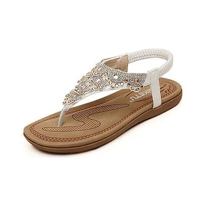 ecbe62b1957f42 Koly Women Summer Bohemia Sweet Flowers Beaded Sandals Clip Toe Sandals  Beach Shoes (UK 3