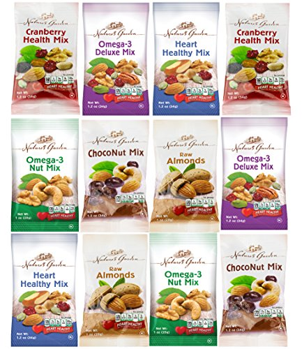 Healthy Premium Assorted Nuts and Fruits Snack Mix Sampler Variety Pack, Good for the Heart (12 Count) (Sampler Snacks)