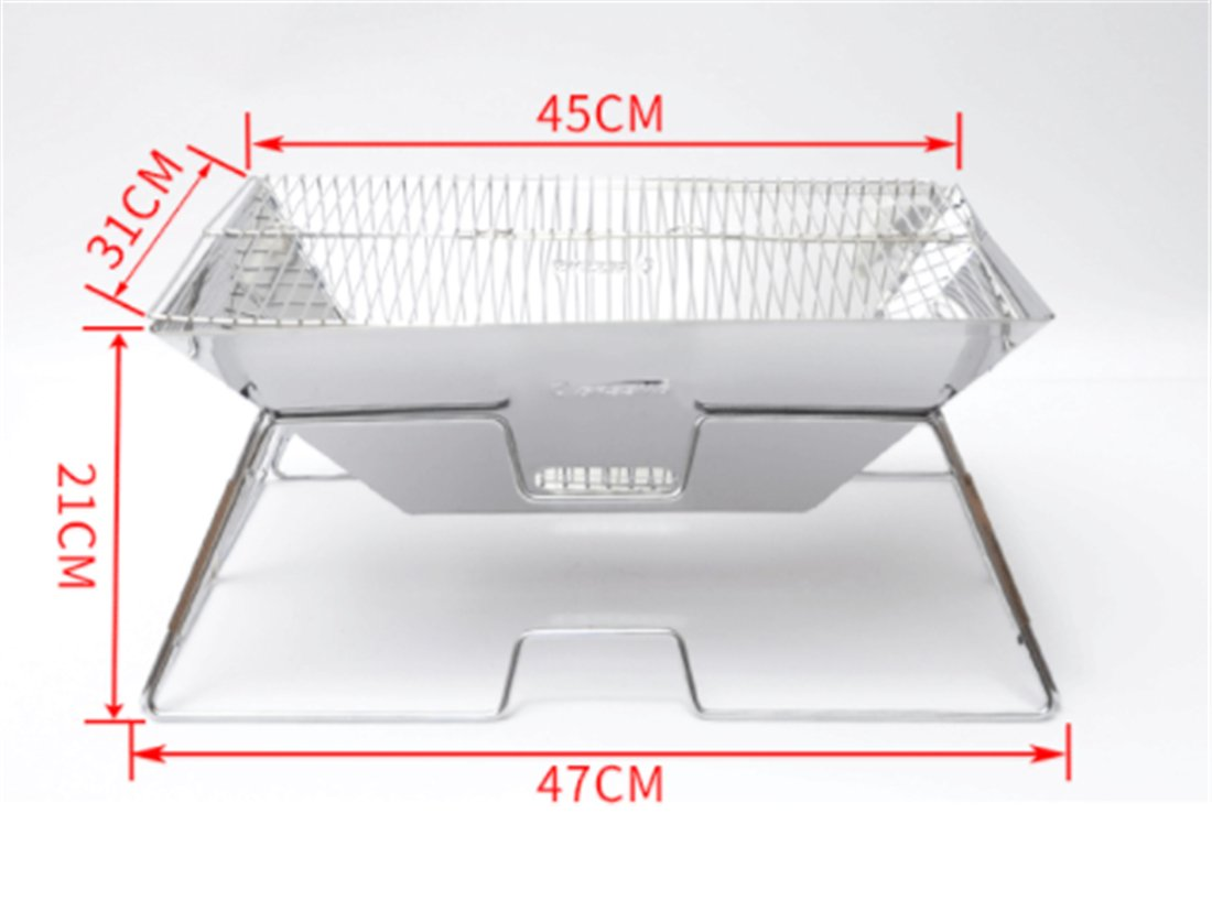 Yeying123 Folding Ofen Outdoor-Multi-Person-Edelstahl Grill Holzkohle Herd Hause Strand Lässig Grillofen