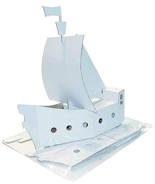 Kreul 39101 Joypac Bastelkarton Piratenschiff Ca 48 X 18 X 50 Cm Weiß Zum Selber Gestalten