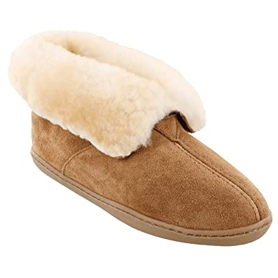 Minnetonka Women's Sheepskin Ankle Boot 5 M Golden Tan | Slippers