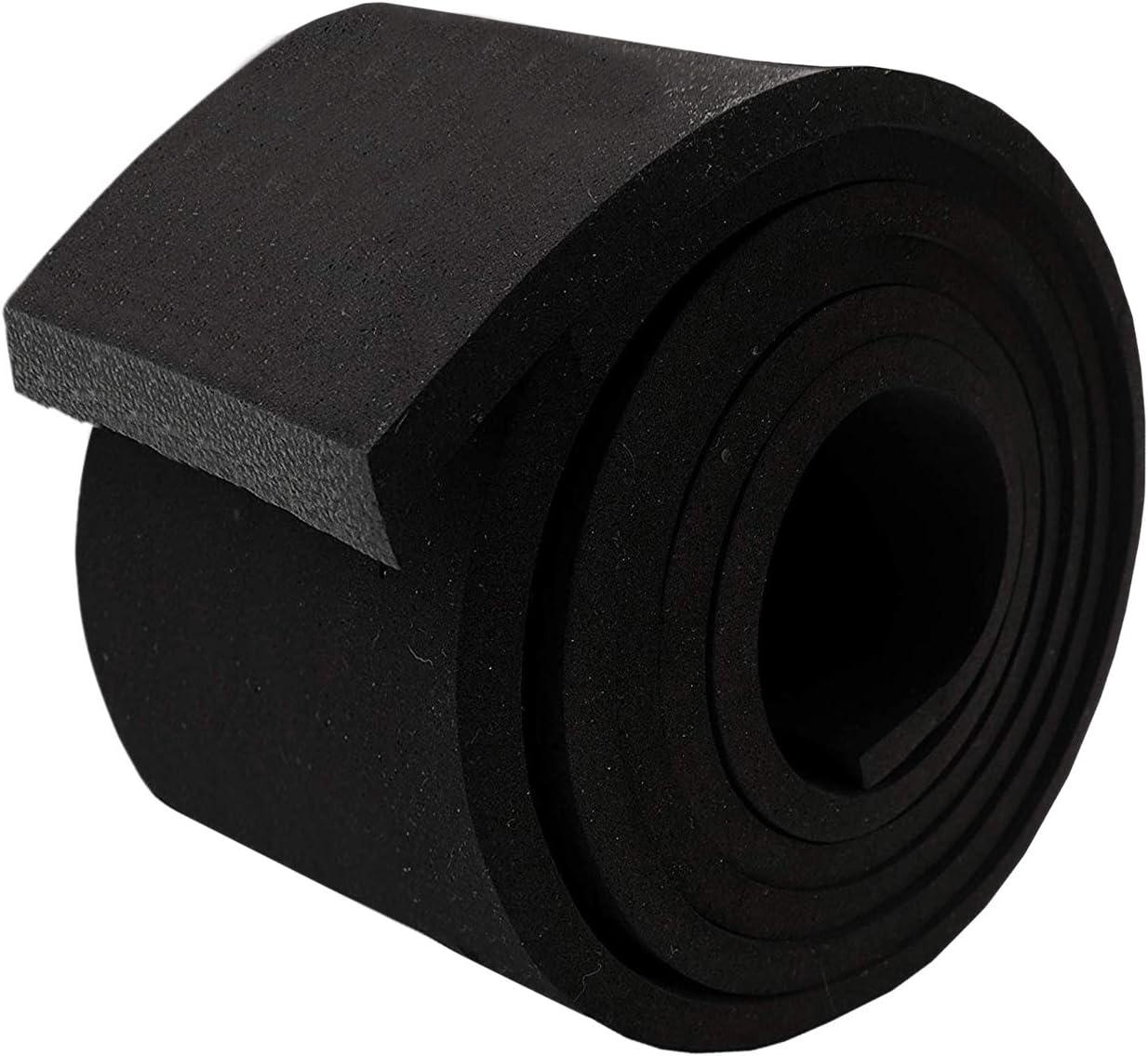 "Neoprene Foam Strip Roll by Dualplex, 3"" Wide x 10' Long x 1/4"" Thick, Weather Seal High Density Stripping – Weather Strip Roll Insulation Foam Strips - 10 Feet Long"