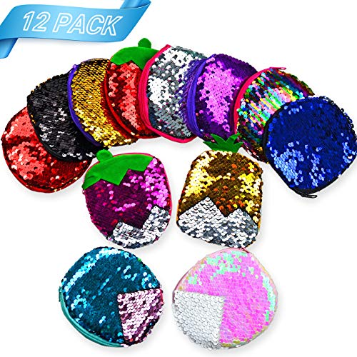 (Summar Mermaid Party Favors, Sequin Coin Purses, Birthday Party Gifts for Girls, 12PCS)