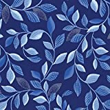 Blue Brilliance~Shimmer Leaves Navy~Cotton Fabric by Benartex