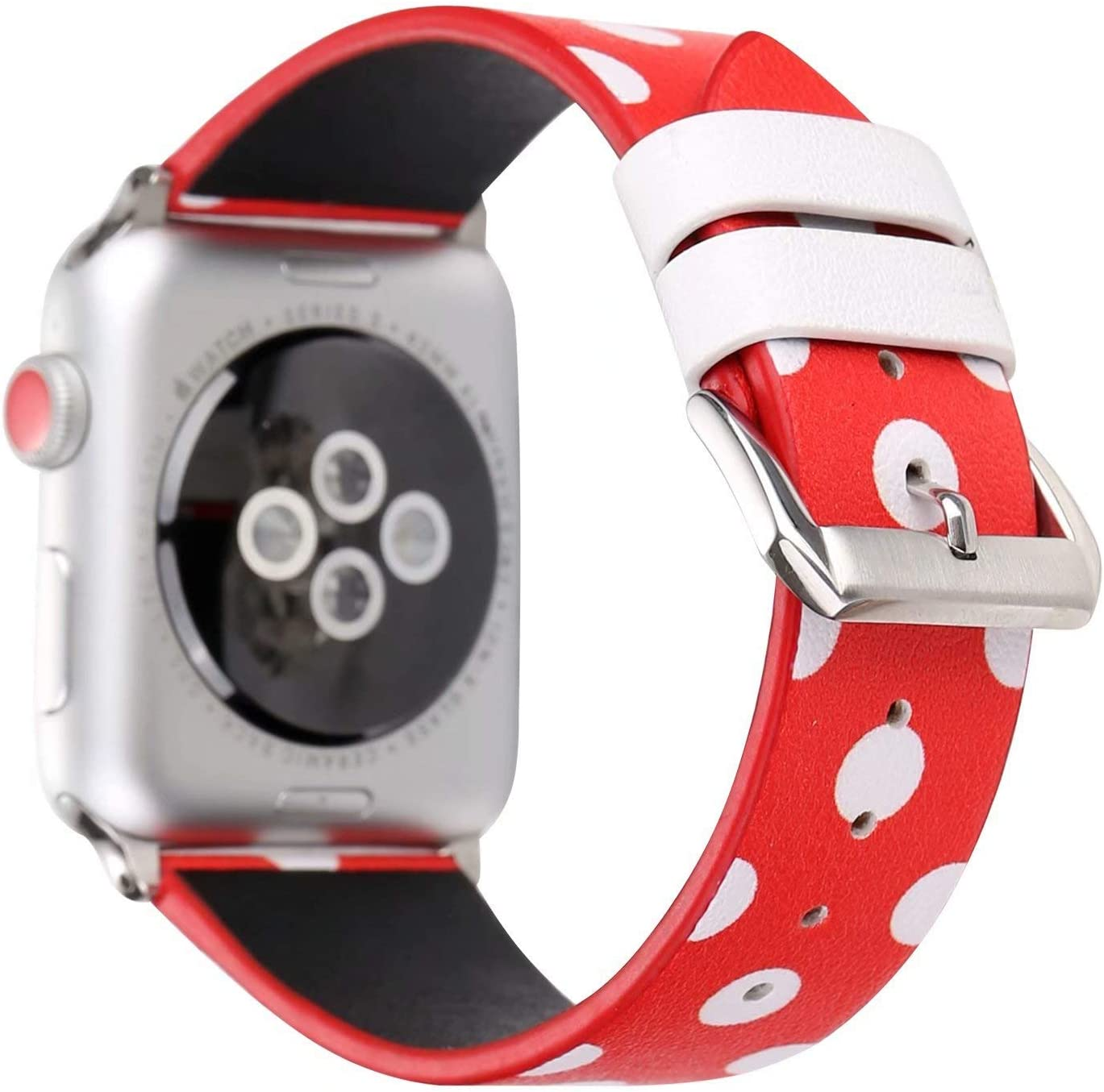Women Girls Cute Polka Dot Leather Band Compatible with Apple Watch Series 5/4 44mm and Series 3/2/1 42mm - Red with White