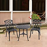 """Nuu Garden Outdoor 3 Piece Cast Aluminum Patio Bistro Set with 26"""" Round Table and Arm Chairs SCD001-01, Antique Bronze"""