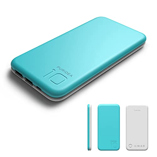 Puridea Portable Mobile Charger Power Bank, Bi-color Li-polymer 10000mAh External Battery for iPhone Samsung HTC LG Blackberry Sony and More -Blue and White