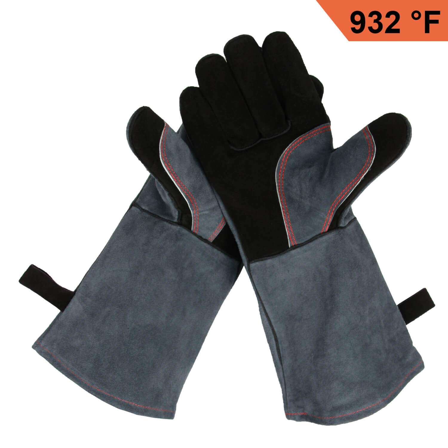 Milliongo Heat Resistant BBQ Gloves, Leather Oven Mitts Fireproof Safety Work Gloves with Long Sleeves for Barbecue Grilling Welding, Black Gray
