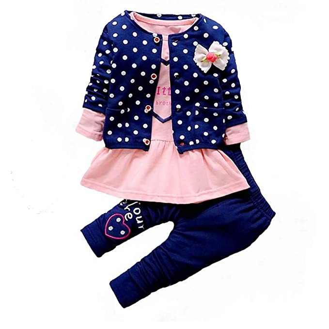 377b1348e191 Amazon.com  BibiCola Baby Girls Print Outfits Sets 3PCS Kids Girls ...