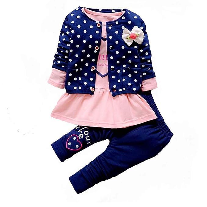 Amazon.com: Conjunto de ropa para bebé y niña de manga larga ...