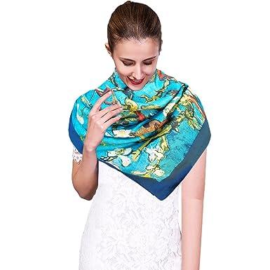 7e87600f1cbb iEverest Ladies Square Silk Scarf Shawl Wrap - Luxury Satin Silk Scarf  Women s Beach Shawl Silk