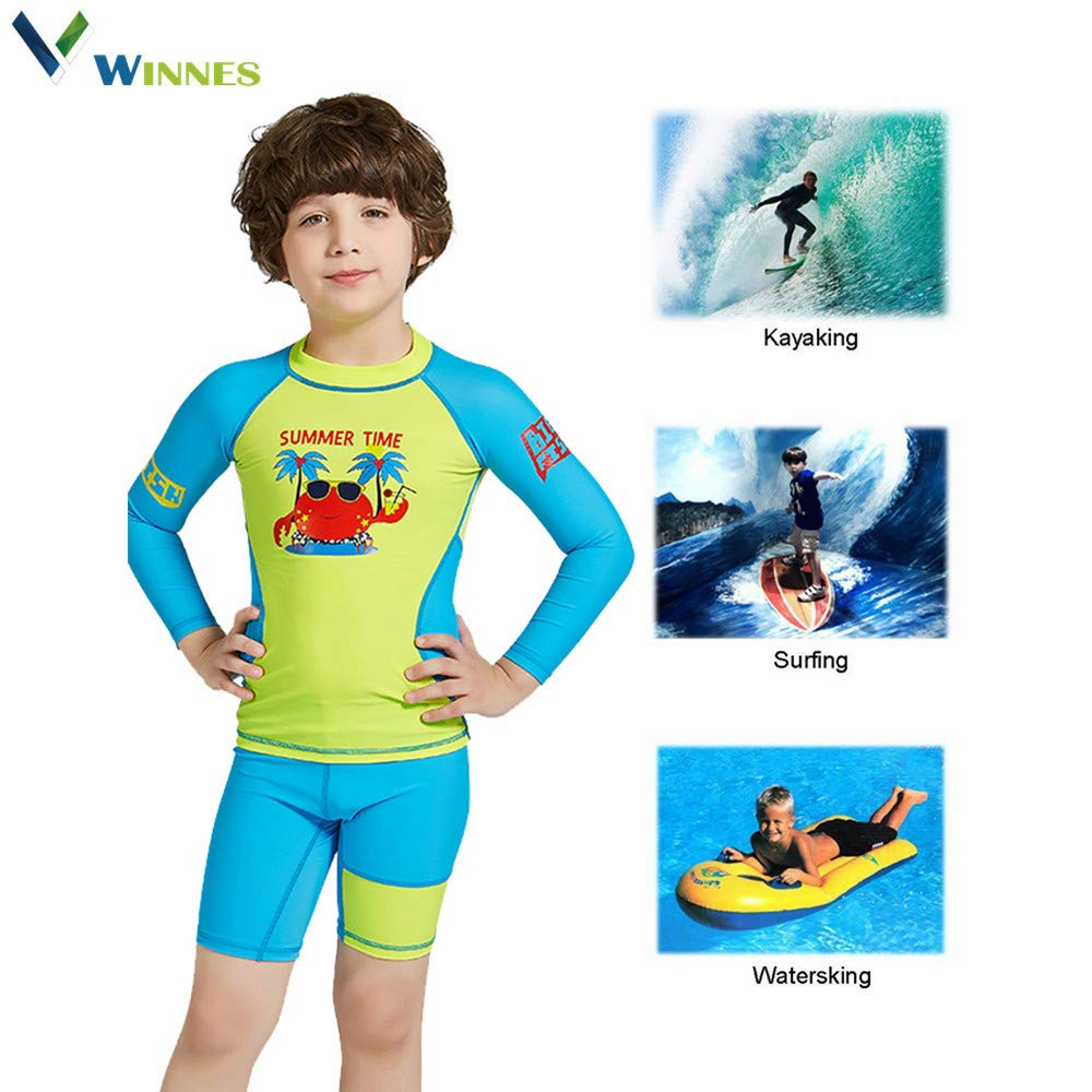 Winnes Baby Boy and Girl Swimsuit Set Kids Split Swimsuit Suit 2 Piece Long-Sleeved Swimwear Sunscreen Quick-Drying Swimwear