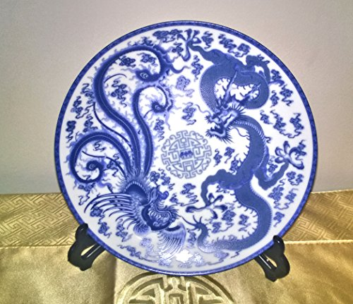 Chinese Porcelain Plate - Qing Dynasty (Qianlong) Blue & White Dancing Phoenix and Dragon Amid Clouds and Fires Motif (Reproduction)