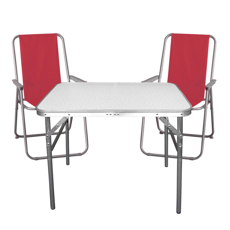 3tlg. Campingmöbel Set Klapptisch, Aluminium, 55x75cm + 2x ...