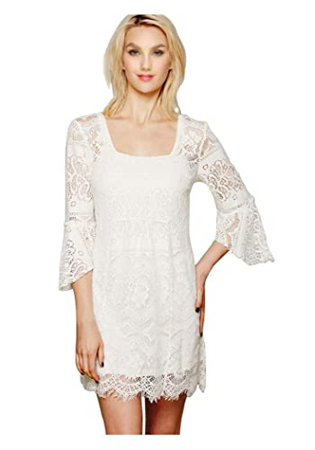 CA Fashion Women's Twinset Square Neck 3/4 Sleeve Lace Dress Lining Include