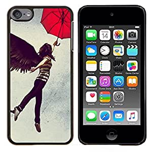 YiPhone /// Prima de resorte delgada de la cubierta del caso de Shell Armor - Chica alas del ángel oscuro Negro Paraguas Mujer Arte - Apple iPod Touch 6 6th Touch6