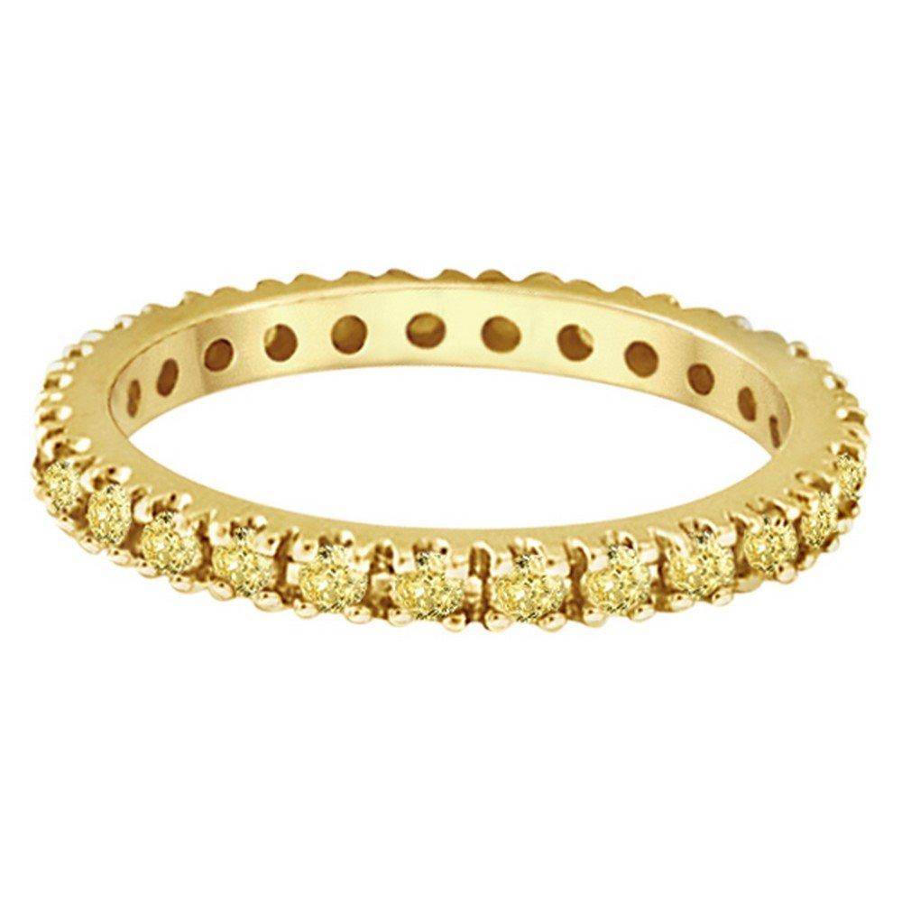 Fancy Yellow Canary Diamond Eternity Ring Band 14K Yellow Gold (0.51ct) by Allurez (Image #2)