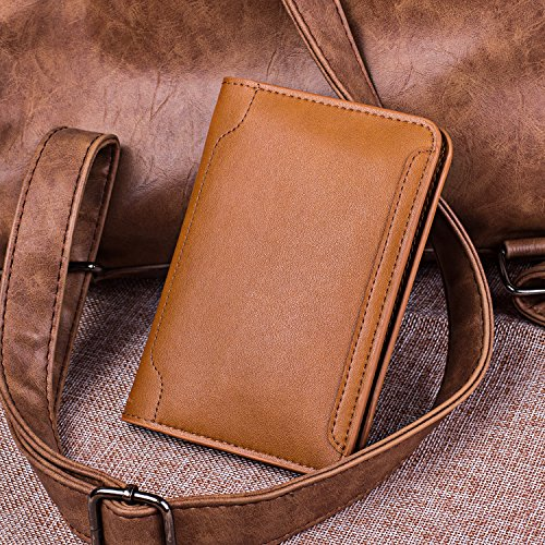 XGUO Passport Holder Case Wallet,Multifunctional Genuine Leather RFID Blocking Passport Holder Cover and Travel Wallet Case (Brown)