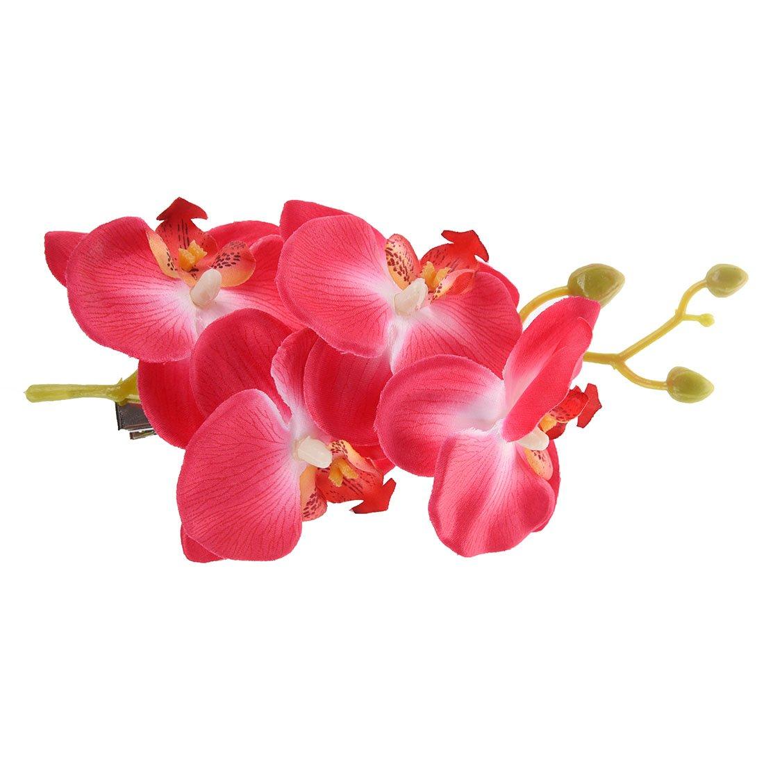 SODIAL(R)Mode Femmes Pince Fleur Barrette Parti mariee Accessoires pour cheveux (Rose Blanc)