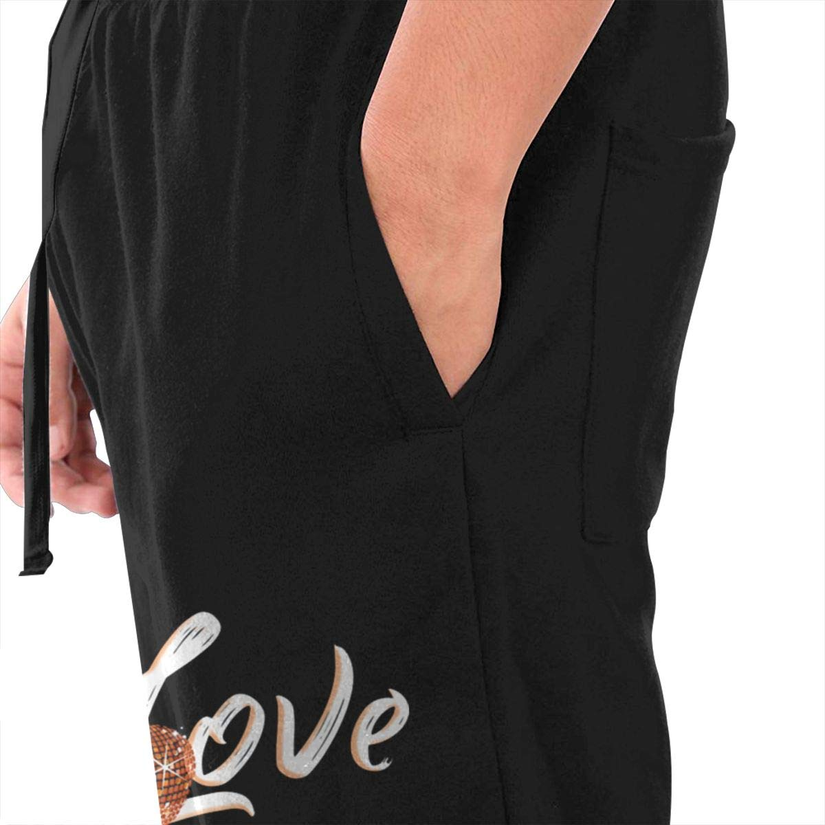 Live Love Dance Drawstring Waist,100/% Cotton,Elastic Waist Cuffed,Jogger Sweatpants Black
