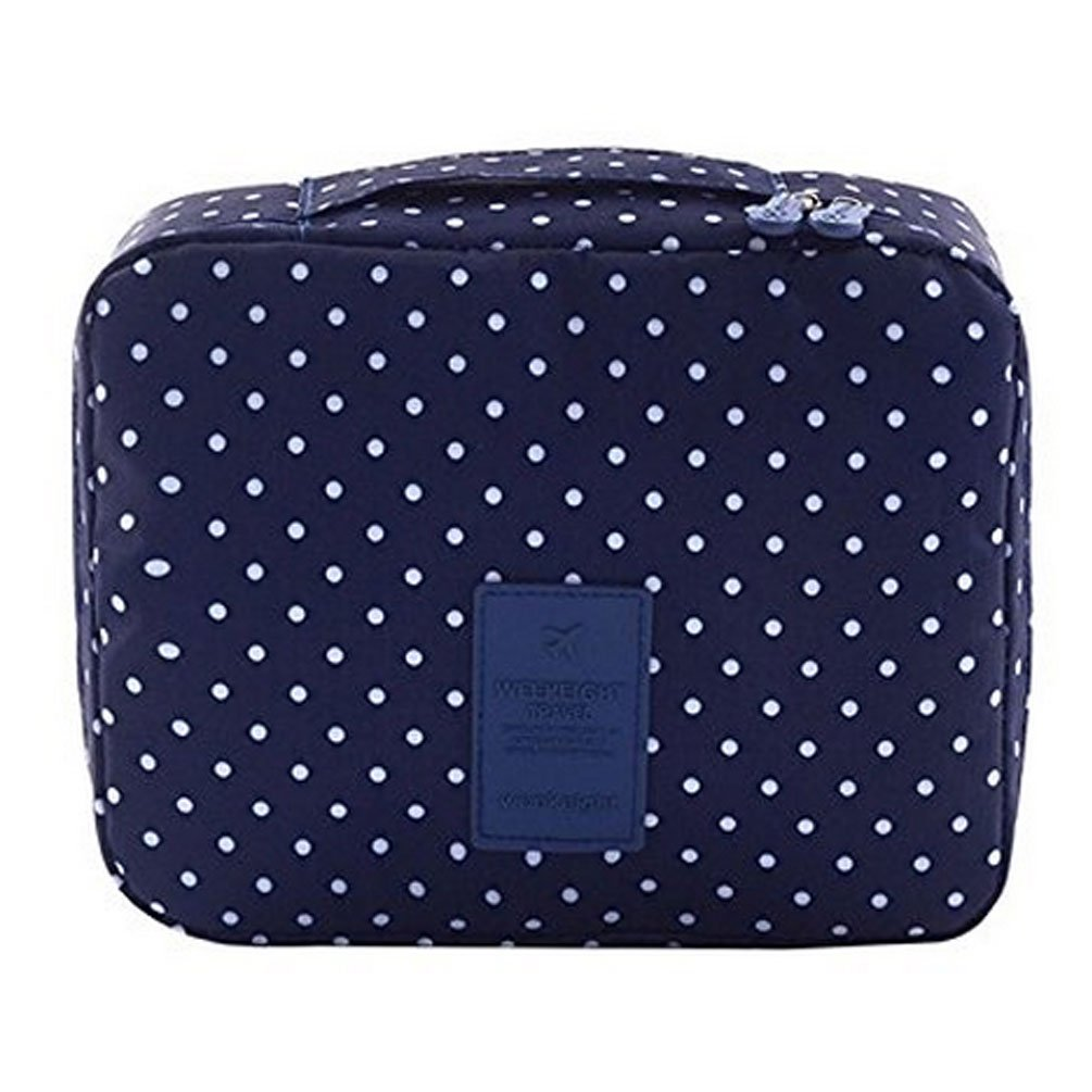CalorMixs Travel Cosmetic Bag Printed Multifunction Portable Toiletry Bag Cosmetic Makeup Pouch Case Organizer for Travel (Navy Circle) by CalorMixs (Image #3)