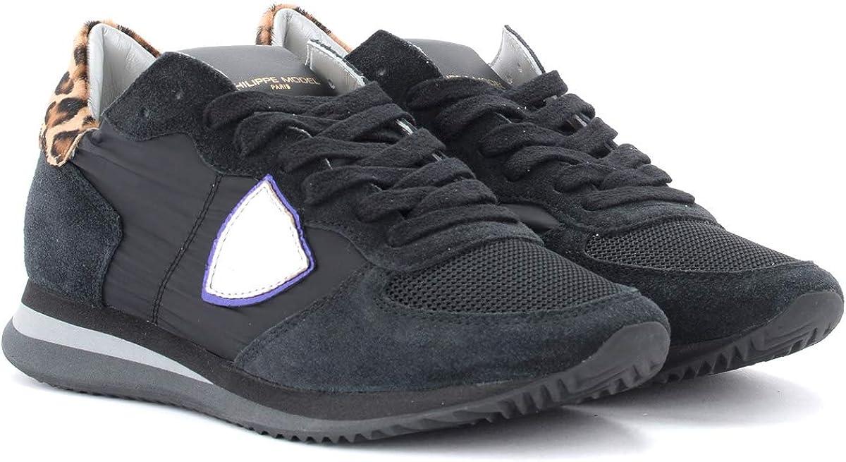Philippe Model Baskets Tropez X en Daim Noir avec Spoiler Tacheté, Taille UK: Noir