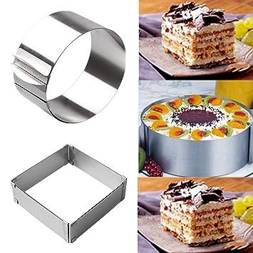 2 moldes de acero inoxidable ajustables para tartas, molde cuadrado para tartas y anillo redondo