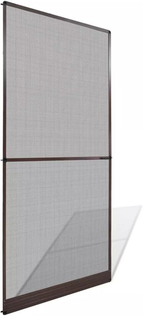 yorten Mosquitera con Bisagras para Puertas con Dos Asas 100x215 cm Estructura de Aluminio y Red de Fibra de Vidrio Marrón