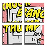 JP London 4 Panels 14in 4 Huge Gallery Wrap Canvas Wall Art Huff Puff Three Little Pigs Door Knock Comic At Overall 28in QDCNV2275