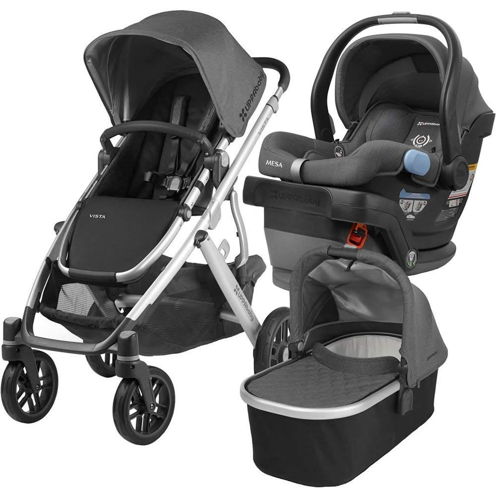 Uppababy Full Size Vista Infant Baby Stroller Mesa Car Seat Bundle Jordan