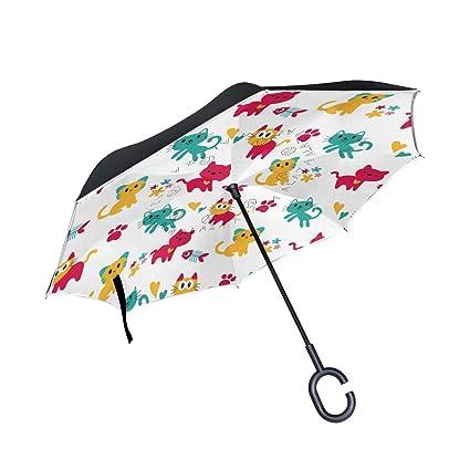 ALINLO Paraguas invertido diseño de Gatos de Dibujos Animados, Doble Capa, Paraguas inverso Resistente
