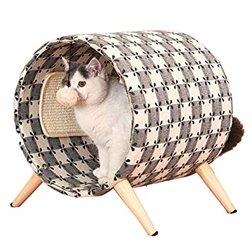 QNMM Muebles para Gatos Juguete para Gatos Tablero para Rascar Salón para Catar Marco De Escalada Cama De Madera Maciza Barril Redondo Arañazos para Afilar ...