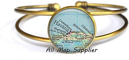 Charming Bracelet,Havana map Bracelet Havana Cuba Bracelet,/A0282 map jewelry Cuba map Bracelets Havana map Bracelets