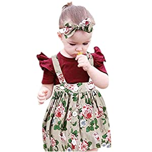 NUWFOR 3Pcs Baby Toddler Girls Kids Overalls Skirt +Headband+Romper Clothes Outfits(Beige,18-24Months)
