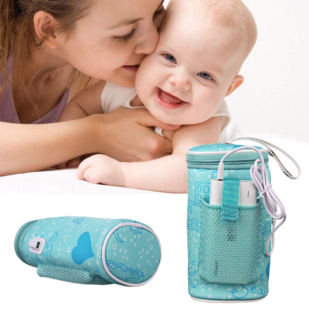 Lucktao Portable USB Baby Bottle Warmer Heater Insulated Bag Portable in Car Heaters Drink Warm Milk Thermostat Bag for Feed Newborn by Lucktao