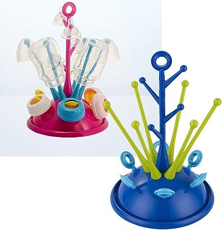 CDKJ tetina de biberón lindo pezones sostenedor del soporte de secador de Copa Cuidado de la secadora para bebé secado con escurridor Mat azul oscuro